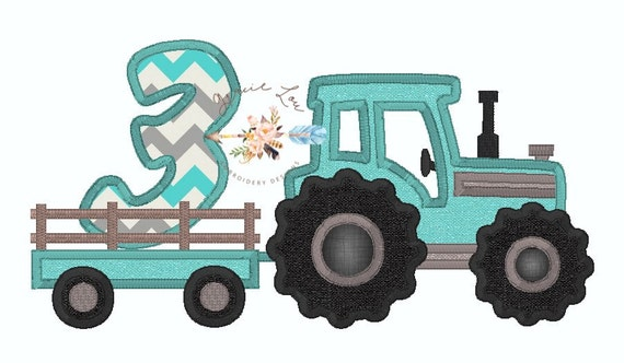 Embroidery Of Tractors : Tractor embroidery design appliqué with