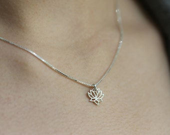 Silver Lotus Necklace, Tiny Charm, Delicate Sterling Silver Chain