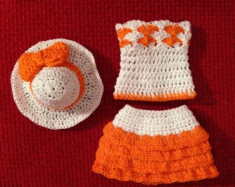Crochet Barbie clothes, crochet Barbie skirt, top and hat, Barbie outfit, Barbie fashion, white and orange skirt