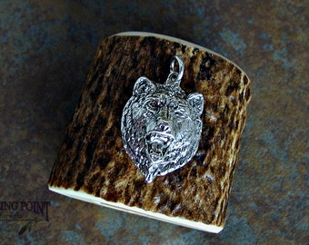 """Sterling Silver Miniature Grizzly Bear Head. Pendant or Charm. Rustic Jewelry. Great Gift Idea for Him or """"First Silver Gift"""" for Juvenile."""
