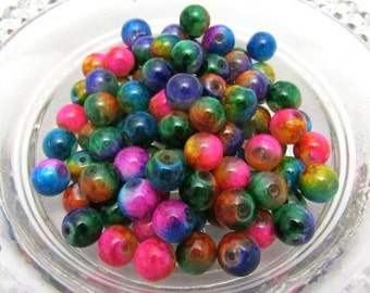 100 Loose Assorted Spray Painted 8mm Glass Beads (B12)