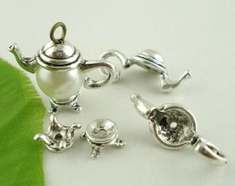 10 Tibetan Style Silver Tone 2 Pc. Teapot Bead Cap Sets (B130f/171g)
