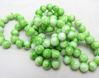 1 Strand 8mm Mottled Glass Round Beads Green (B43a)