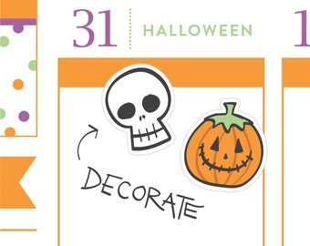 P336 - Halloween planner stickers, skeleton stickers, pumpkin, jackolantern, planner stickers, 32 stickers, PPC208