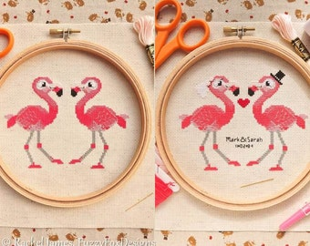 Flamingo Pair Cross Stitch Pattern PDF | Plain and Wedding | Cute Little Bird | Easy | Modern | Beginners Counted Cross Stitch | Download