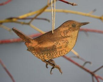 Wren - Wooden Bird Hanging