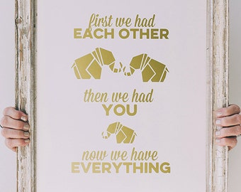 Elephant wall decal - First we had each other - Wall Decal  - Geometric