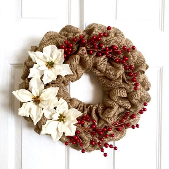 Items similar to christmas wreath burlap wreath for 5ft poinsettia garland christmas decoration