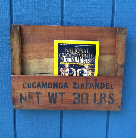 Custom Wood Recycled Grape Crate Hanging Rustic Magazine Rack Wine Cucamonga Zinfandel Wooden Mail Holder Wall Decor