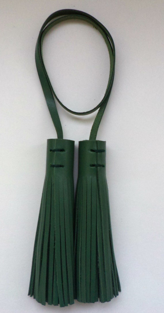 Leather Tassel Charm, Tote Bag, Green