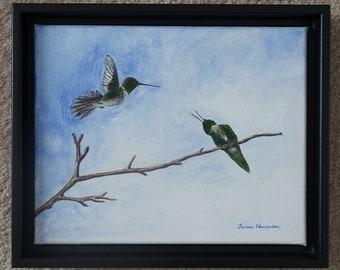 Hummingbird and Baby Original Acrylic Painting, Hummingbird Framed Art, Hummingbird Art, Bird Art, Mama Bird, Hummingbird Nursery Decor