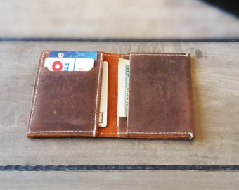 Mens Bifold Leather Wallet Rustic Minimalist Wallet Men's Wallets Leather Travel Minimal Slim Distressed Leather Wallet