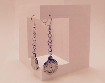Silver Peace Dangle Earrings