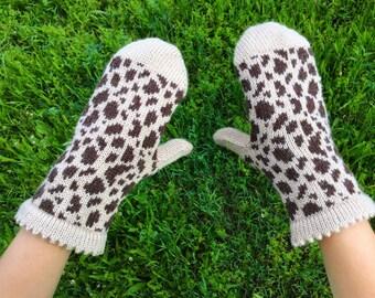 Alpaca wool mittens knitted mittens women knit mittens women wool mittens knit women mittens leopard beige mittens winter warm women mittens