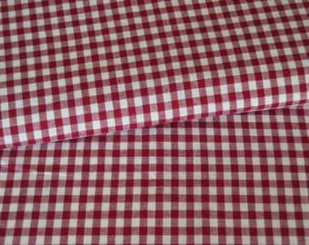 Vichy red white fabric squared 5 mm
