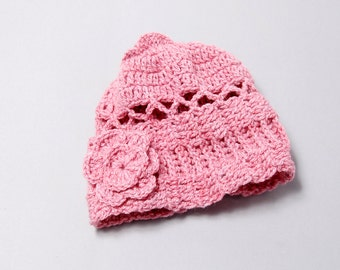 Pink Knitted Hat with Flower