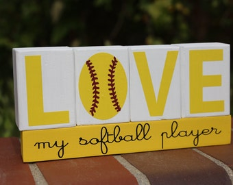 LOVE my softball player Wood Blocks, Softball Wood Blocks, Wood Blocks, Painted Wood Blocks,