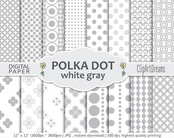 White Gray Digital paper pack seamless pattern - Digital paper Gray Polka dots seamless paper digital background commercial use set of 16