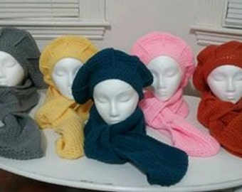 Woman's Beret Hat & Scarf Set