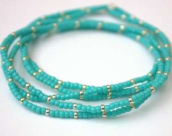 Turquoise and silver seed bead stretch bracelet, set of 5, boho
