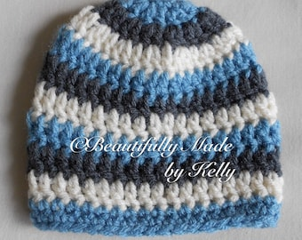 Crocheted Baby Beanie and Diaper Cover Set