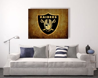Oakland Raiders vintage style Canvas Print, vintage football decor, football room decor, room decor for men, apartment decorating ideas