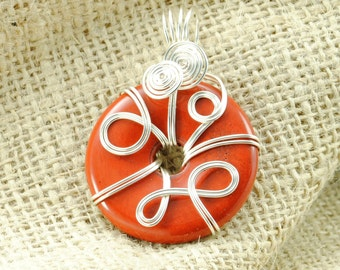Tarnish-Resistant Sterling Silver Plated Wire-Wrapped Red Jasper Donut Pendant - 40mm