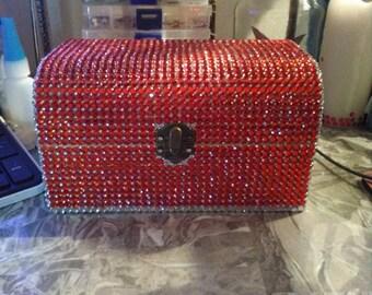 Large wooden diamante box.