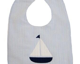 Preppy Monogrammed Sail Boat Bib