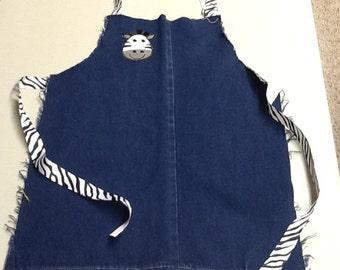 Blue jean apron, up-cycled jeans, child's apron, zebra