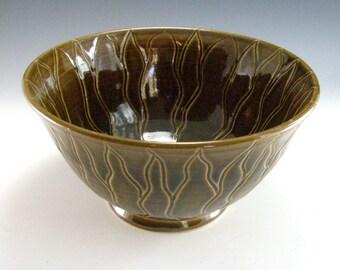 Ceramic Brittle Bush Serving Bowl in Amber Celadon