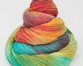 Hand dyed yarn/merino/silk/nylon blend. Fingering/double knit, 4ply/8ply, sock yarn/hand painted skein. Knitting, crochet, spinning, weaving