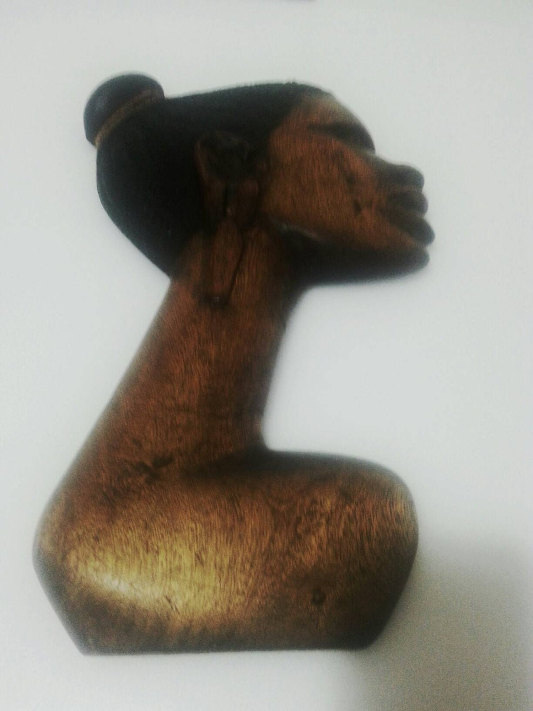African female face wood carving by maasai kenya handmade wall