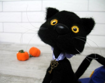 black cat plush etsy. Black Bedroom Furniture Sets. Home Design Ideas
