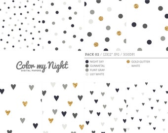 80% OFF SALE Digital Paper Neutral 'Pack02' Gold Glitter & Gray Confetti Backgrounds for Scrapbook, Party Invitations, Crafts...