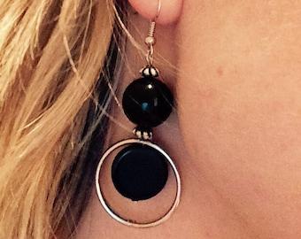 Black round earrings