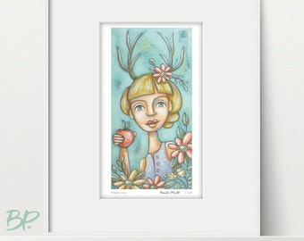 Woman with Antlers - Deer Woman, Woman Print, Surreal Art, Antler Flowers, Woodland Princess, Whimsical Art, Female Portrait, Gift For Her