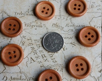 Wooden Buttons, 18mm Buttons,  Round Buttons, Wood Buttons, Rustic Buttons, Small Wood Buttons, Autumn Buttons, Brown Buttons, Brown 18mm