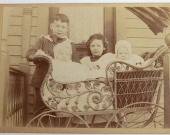Cabinet Card Photo Twin Babies Fancy Wicker Carriage Edwardian Children on Porch
