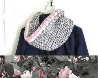 Gray, Pink and White Cowl - Mountain Sunrise Scarf