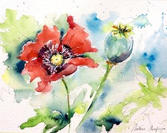 Fleurs sauvages etsy for Aquarelle fleurs livraison gratuite