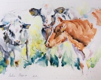 "Watercolour original ""Cows"""