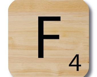 "Letter ""F"" wood Scrabble"