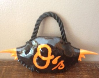 1 Hand Painted O's Black/Orange Crab Shell