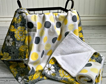 Baby Gift Set- Flannel Recieving Blanket, Burp Cloth and Wash Cloth- Yellow, Grey, Black & White Polka dot and flowers