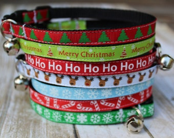 Christmas Cat Collars - Christmas Cat Harness - XS Christmas Dog Collar - Holiday Cat Collar - Kitten collar - XS Christmas Dog Harness
