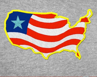 USA map United States of America Sihouette Flag Giant - 8 Inch - Embroidery Design Digital Instant Download
