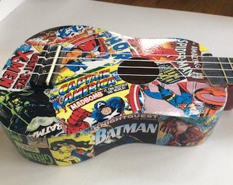 Superhero decoupage ukulele