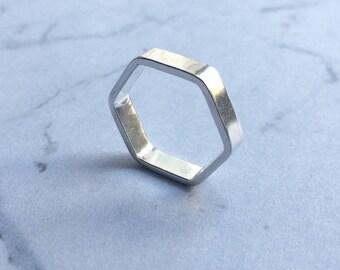 Geometric Hexagon shape ring. Minimal, contemporary, simple, Polished shine