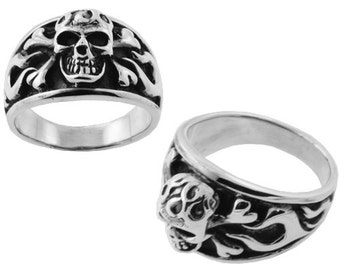 Skull and Crossbones Ring Sterling Silver
